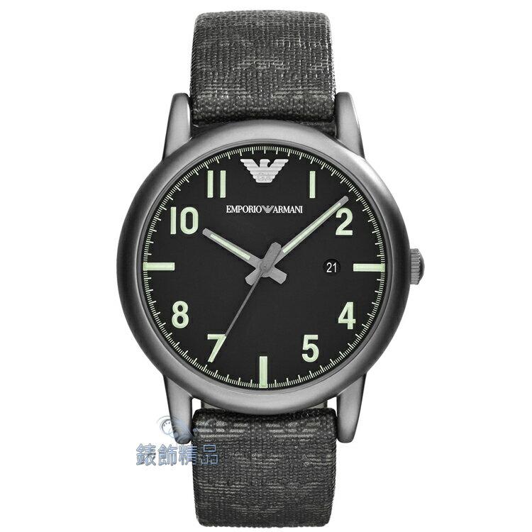 【錶飾精品】ARMANI手錶 亞曼尼表 LOGO壓紋皮帶 黑面日期男錶 AR1834 全新原廠正品