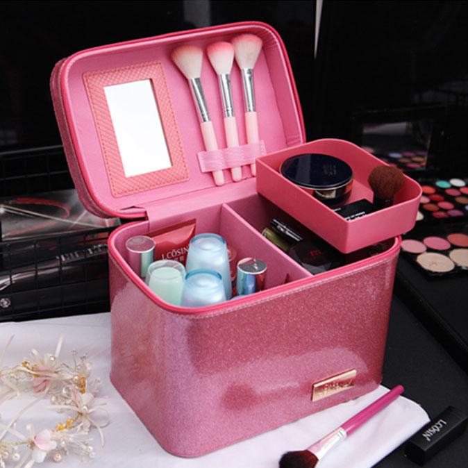 <br/><br/>  大容量手提時尚閃粉化妝箱 化妝包 刷具收納 新秘<br/><br/>