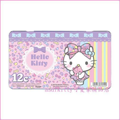 asdfkitty可愛家☆KITTY小熊色鉛筆組/彩色鉛筆組-12色-鐵盒裝-三菱鉛筆-日本製