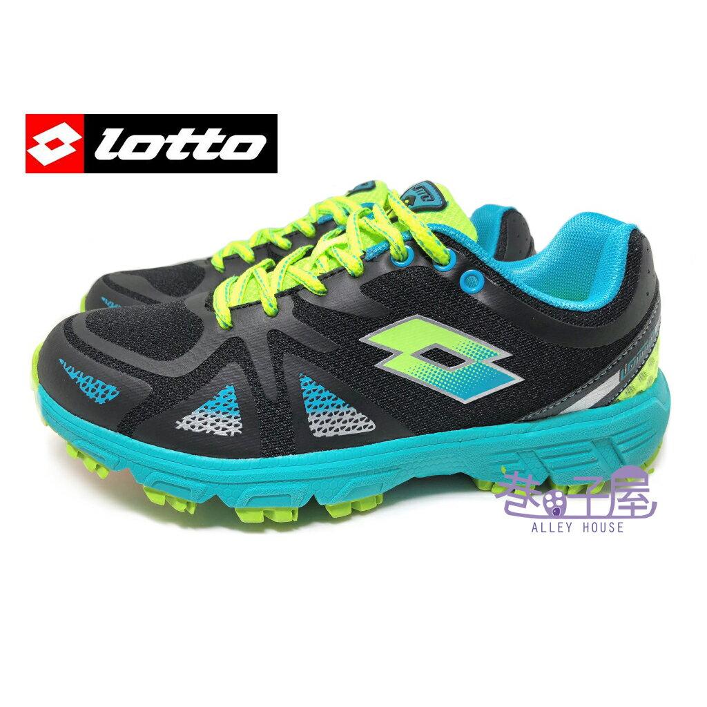 【巷子屋】零碼出清23.255號 義大利第一品牌-LOTTO樂得 女款五大機能輕量越野慢跑鞋 [2730] 黑綠 超值價$590