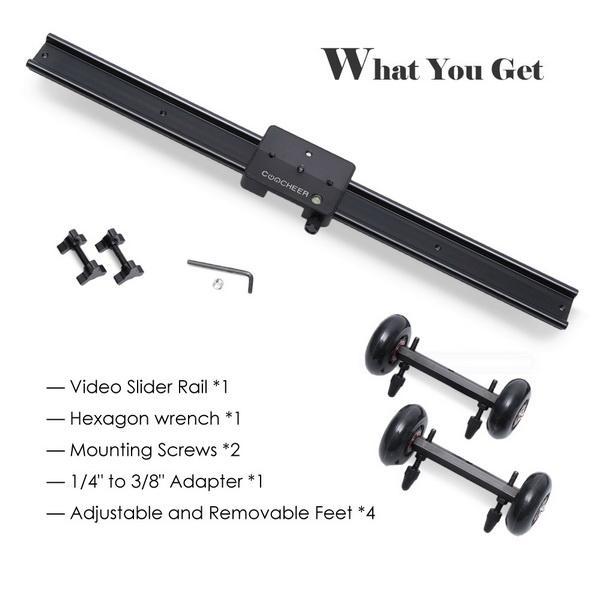 60cm/ 23.6inch Camera Track Dolly Slider Video Stabilization Rail System 3