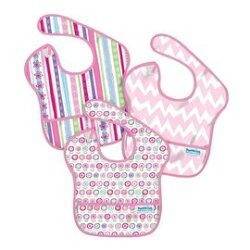 美國 Bumkins 防水兒童圍兜(一般無袖款 3個月~2歲適用)(3入) G8小花款【紫貝殼】