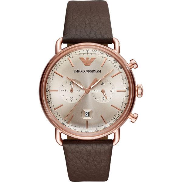 EMPORIOARMANI亞曼尼AR11106時尚簡約懷舊弧面玻璃腕錶米白面43mm
