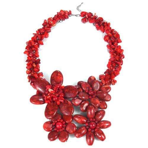 Bold Large Red Coral Flower Garland .925 Silver Necklace (Thailnd) 0