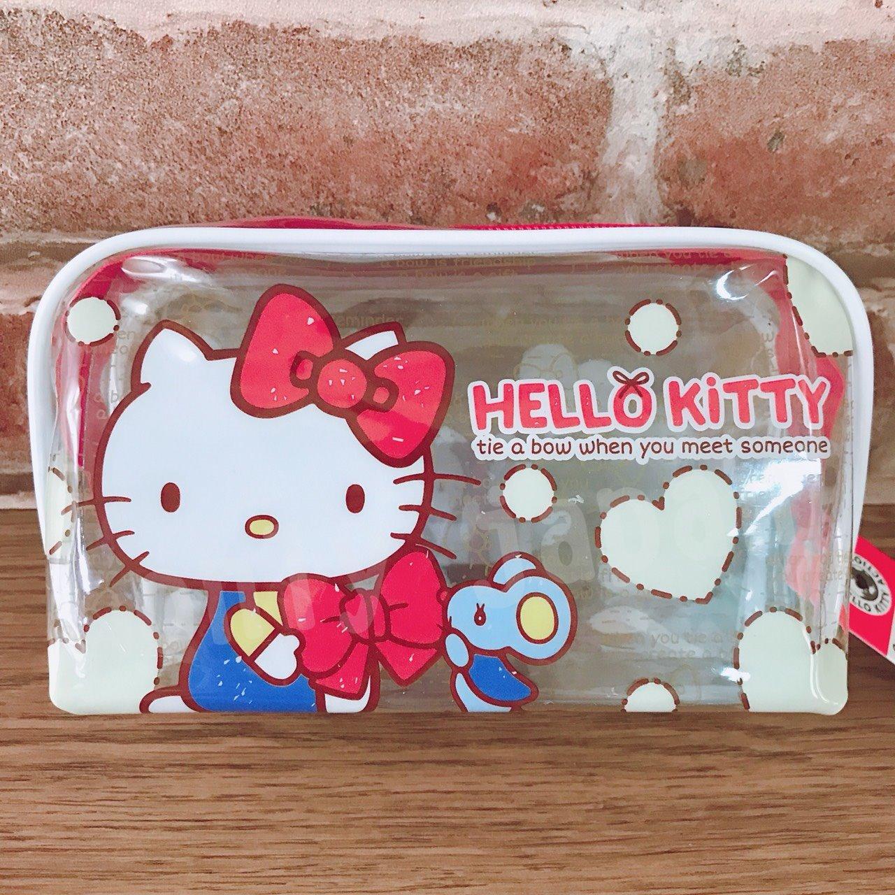 【真愛日本】17090900008 透明大容量筆袋-KT豹紋桃結 三麗鷗 kitty 凱蒂貓 鉛筆盒 化妝包