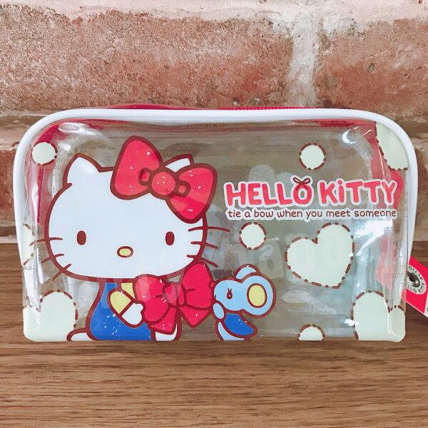 【真愛日本】17090900008透明大容量筆袋-KT豹紋桃結三麗鷗kitty凱蒂貓鉛筆盒化妝包