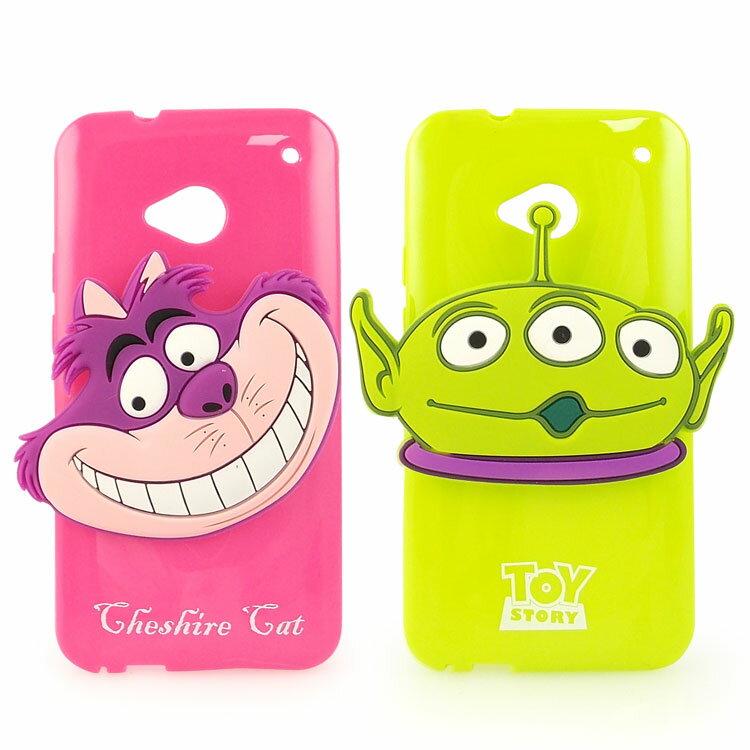 【Disney 】NEW HTC ONE 時尚大頭造型捲線保護套-三眼怪/柴郡貓