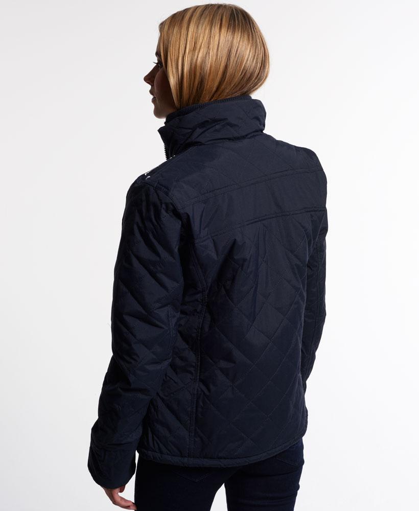 [女款] Outlet英國 極度乾燥 Superdry Hooded Sherpa 加厚保暖菱格紋絎縫羊羔絨防風衣 女款 海軍藍 3