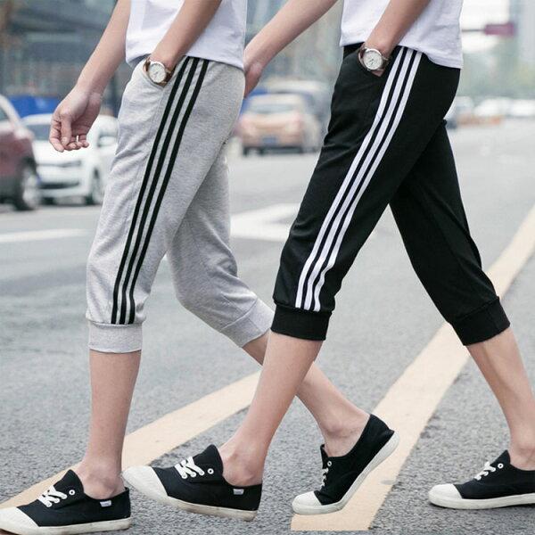 日韓潮流三條流行設計運動休閒七分褲