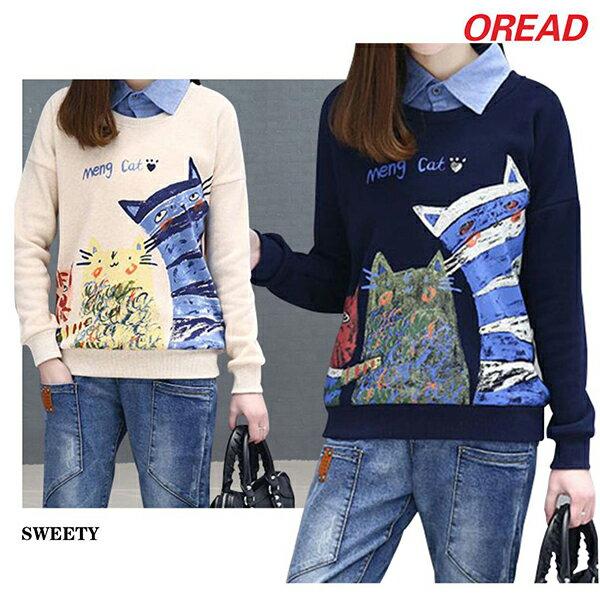 森女系貓咪印花寬鬆假兩件襯衫領加絨T恤(2色M~4XL)【OREAD】