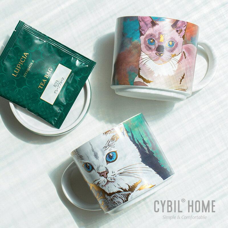 西比爾貓咪杯子女可愛少女陶瓷咖啡杯情侶杯水杯大容量馬克杯帶蓋