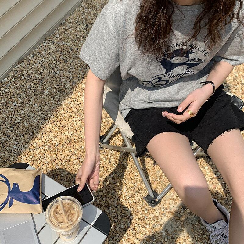 基礎牛仔毛邊中褲女2021夏韓版寬鬆闊腿休閒短褲子
