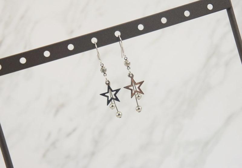2386440星星圓球垂墜耳環、耳扣、耳勾、耳針、耳飾