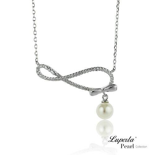 大東山珠寶 無盡愛戀 純銀晶鑽珍珠項鍊