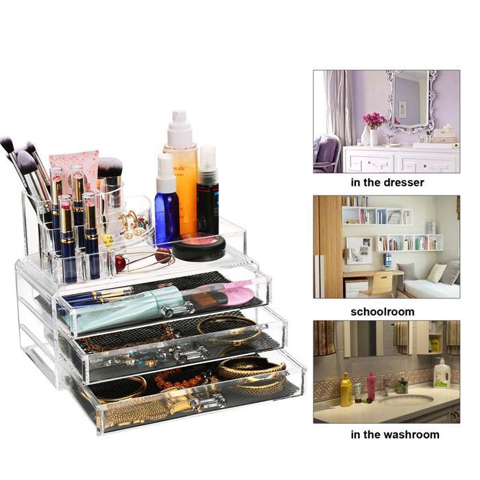 Acrylic Desktop Cosmetic 3 Drawers Grids Multi Tiers Display Storage 3