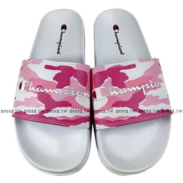 Shoestw【913250260】CHAMPION 拖鞋 運動拖鞋 粉白迷彩 女生尺寸 1