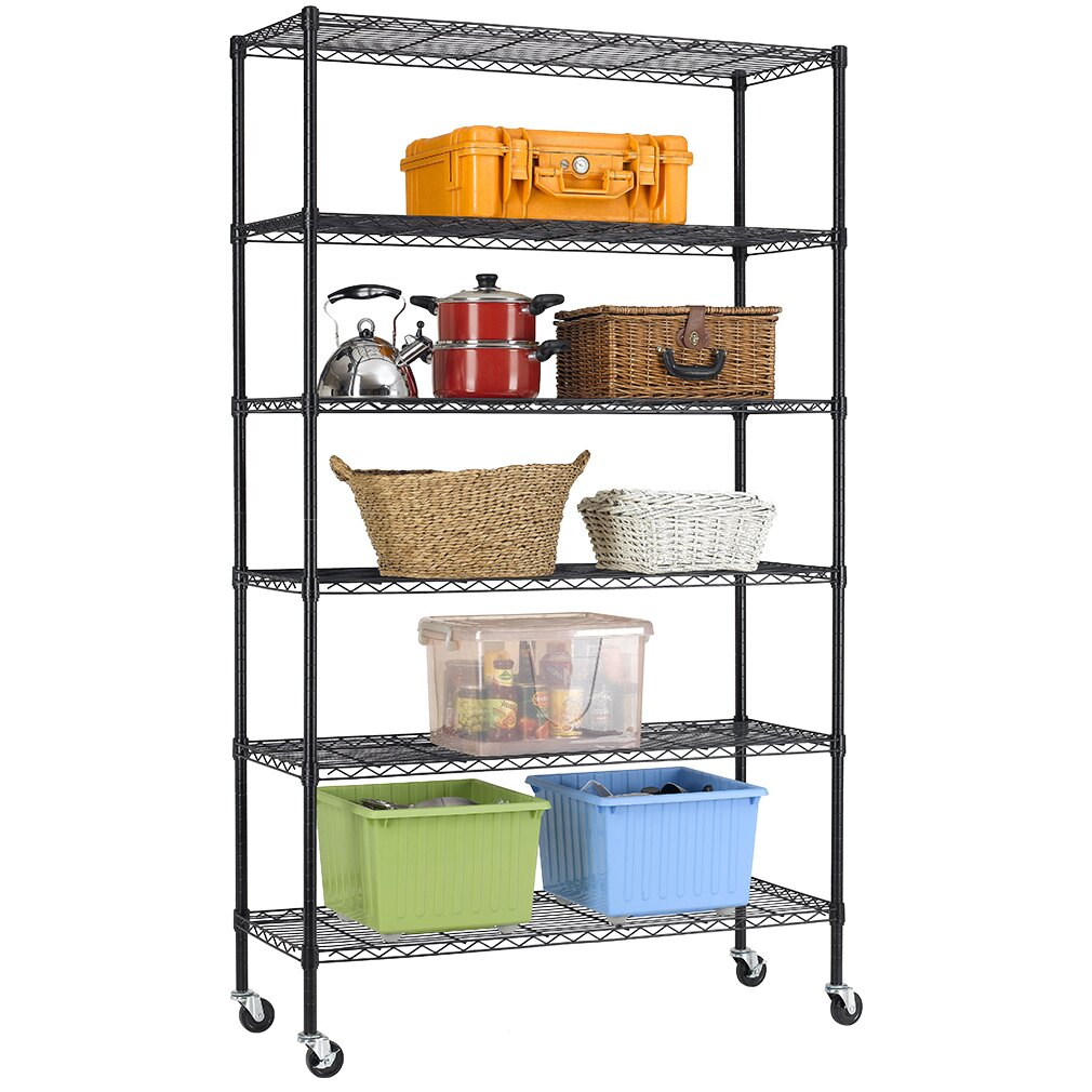 Factory Direct: BestOffice 6 Tier Wire Shelving Unit Heavy Duty Height Adjustable NSF Certification Utility Rolling Steel Commercial Grade with Wheels for Kitchen Bathroom Office 2100LBS Capacity-18x48x82, Black | Rakuten.com