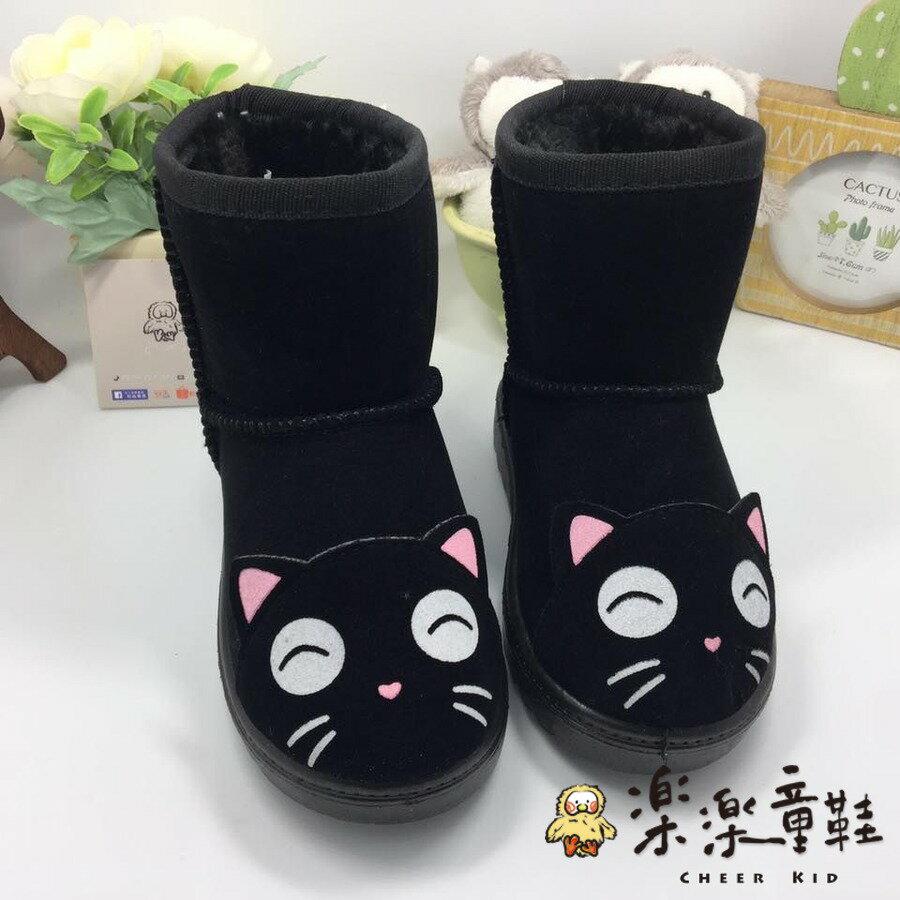 【樂樂童鞋】S808-超萌貓咪保暖兒童雪靴