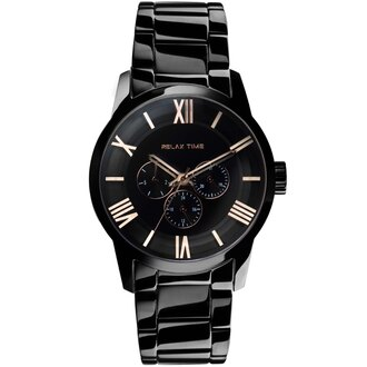 Relax Time RT-65-2M 對錶系列黑金時尚腕錶/黑面(大)45mm