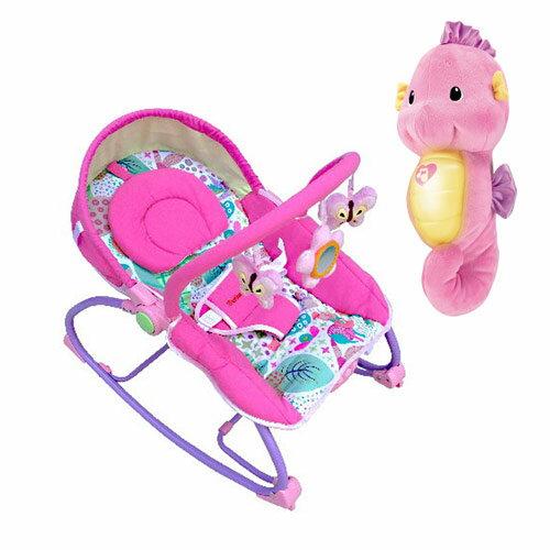 【奇買親子購物網】Mother'sLove嬰兒震動搖椅+可愛費雪Fisher聲光安撫小海馬