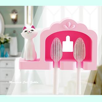 《波卡小姐》喵~ 情侶牙刷架 超強吸力無痕掛勾居家衛浴裝飾置物架 貓咪zakka雜貨創意小物