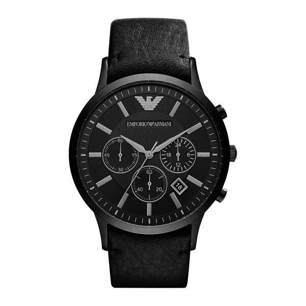 美國百分百【EmporioArmani】配件EA手錶腕錶男錶AR2461不鏽鋼三眼計時皮革黑色J044