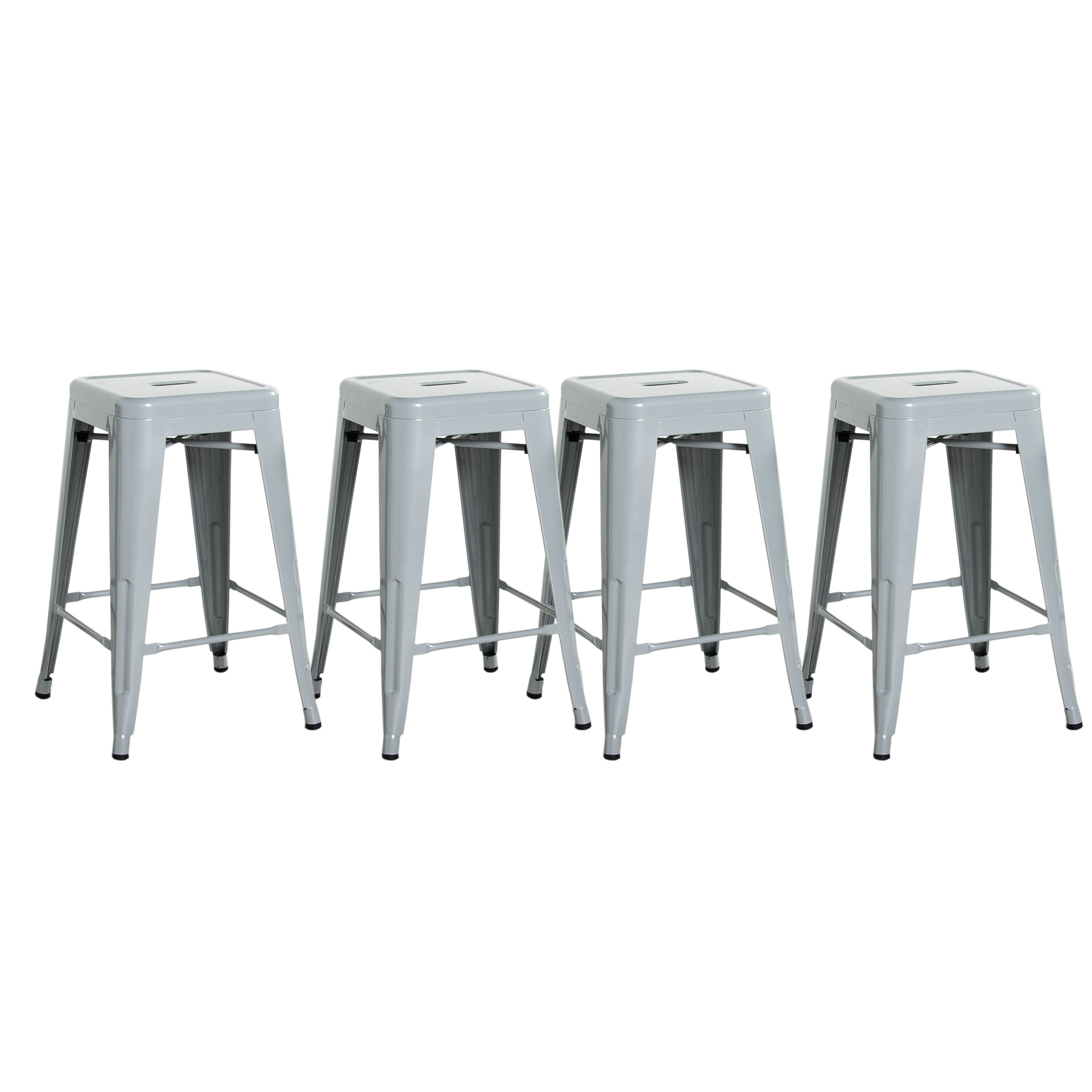 Awesome Cap Living 24 Inches Stackable Sturdy Square Seat Metal Bar Stools Set Of 4 Colors Available In Glossy Black Silver Or Dark Gunmetal Uwap Interior Chair Design Uwaporg