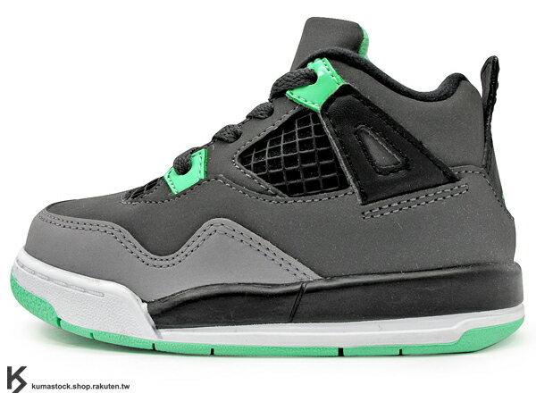 海外入荷 台灣未發售 2013 NIKE JORDAN 4 IV RETRO TD BT GREEN GLOW 幼童鞋 BABY 鞋 灰綠 夜光綠 AJ 四代 牛巴戈皮革 AIR (308500-033) !