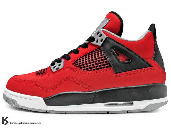 台灣未發售 FLIGHT 2013 復刻上市 限量發售 NIKE AIR JORDAN 4 IV RETRO GS TORO BRAVO BULLS 大童鞋 女生尺寸 全紅 紅黑 紅牛 鮪魚 牛巴戈 公牛隊 AJ (408452-603) !
