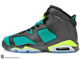 [23.5cm] 2014 最新 經典復刻 NIKE AIR JORDAN 6 VI RETRO GG GS BLACK VOLT ICE TURBO GREEN 大童鞋 女鞋 黑綠 螢光綠 巴西 A..