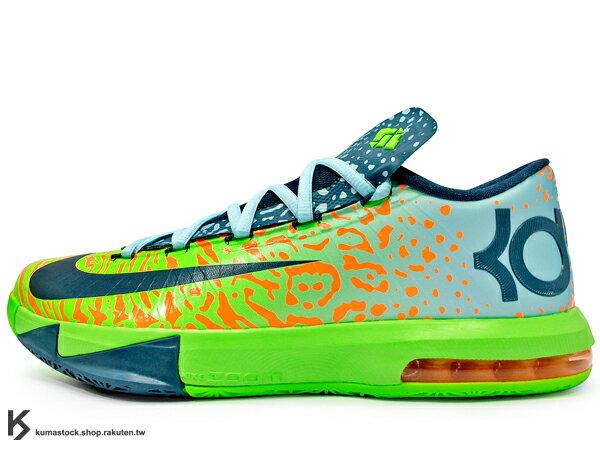 KUMASTOCK:[28cm]2014NBA得分王最新代言鞋款NIKEKDVI6LIGER獅虎亮綠獅紋+虎紋HYPERFUSE鞋面科技ZOOMMAXAIR氣墊KevinDurant代言簽名鞋款(599424-302)!