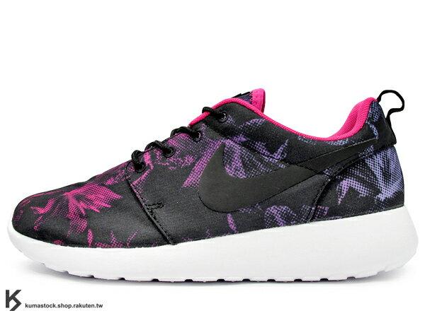 KUMASTOCK:[23cm]2014最新款NSW走路休閒鞋輕量舒適限量發售NIKEWMNSROSHERUNPRINTNAGOYAWOMEN'SMARATHON名古屋女子馬拉松限定女鞋黑紫紅透氣網布PHYLON中底SOLARSOFT襪套(599432-006)!
