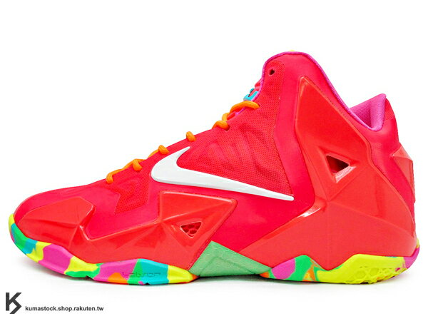 2014 NBA MIAMI HEAT 熱火隊 全新代言鞋款 NIKE LEBRON XI 11 GS FRUITY PEBBLES 大童鞋 紅 七彩彩虹 糖果 FLYWIRE + HYPERFUSE 科技鞋面 LUNARLON 避震中底 JAMES AIR MAX (621712-600) !