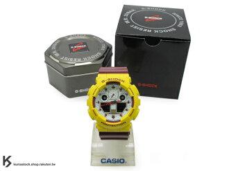 kumastock 2014 最新入荷 超大 55mm 錶徑 CRAZY COLOR 全新運動風配色 CASIO G-SHOCK GA-100CS-9DR 黃深紅白 NBA 球隊 騎士隊 !