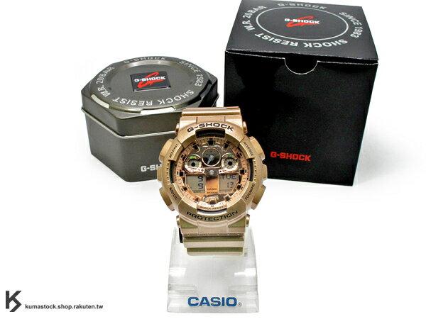 kumastock 2014 最新入荷 超大 55mm 錶徑 CRAZY GOLD 金色炫風來襲 CASIO G-SHOCK GA-100GD-9ADR 玫瑰金 炫金系列 土豪金 !