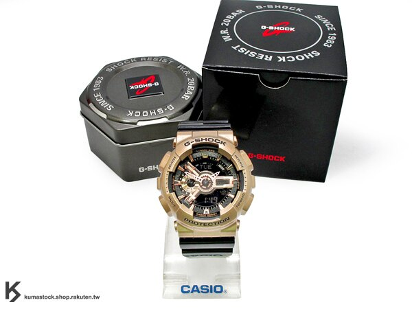 [30%OFF] kumastock 2015 最新入荷 超大 55mm 錶徑 CRAZY GOLD 黑 x 金酷炫風潮來襲 CASIO G-SHOCK GA-110GD-9B2DR 玫瑰金 x 黑色..