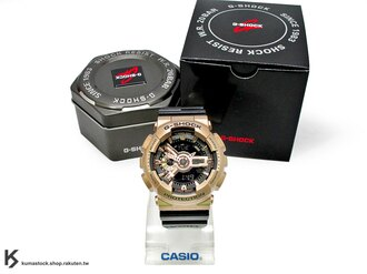kumastock 2015 最新入荷 超大 55mm 錶徑 CRAZY GOLD 黑 x 金酷炫風潮來襲 CASIO G-SHOCK GA-110GD-9B2DR 玫瑰金 x 黑色錶帶 炫金系列 古..