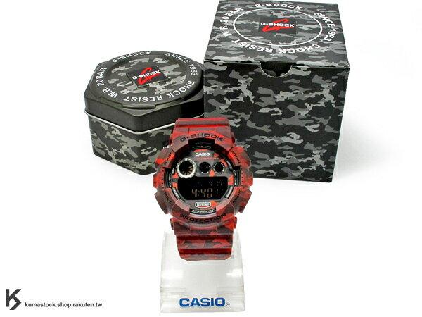 kumastock 最新入荷 2014 30 周年限定機型 大錶徑 CASIO G-SHOCK G-SHOCK GD-120CM-4DR 深紅色 叢林 迷彩 系列 霧面錶帶 !