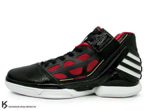 [29.5cm] 2012年最新款 搶先上市 NBA 球星代言 專業籃球鞋款 ADIDAS ADIZERO ROSE 2 2.0 黑紅 公牛隊 客場配色 Derrick Rose 代言 籃球鞋 (G22887)