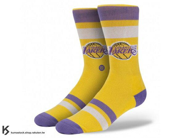 2013 美國加州 襪子 品牌 STANCE SOCKS x NBA 官方授權 NBA HARDWOOD 球隊系列 LOS ANGELES LAKERS 洛杉磯 湖人 紫黃 LOGO 中長筒襪 (M313ALAK) !