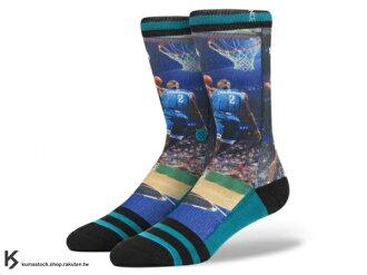 2014 美國加州 襪子 品牌 STANCE SOCKS x NBA 官方授權 NBA LEGENDS 傳奇球星系列 LARRY JOHNSON 黃蜂 祖母 正反面滿版印刷 中長筒襪 (M320A14..