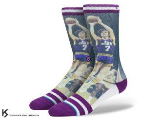2014 美國加州 襪子 品牌 STANCE SOCKS x NBA 官方授權 NBA LEGENDS 傳奇球星系列 PISTOL PETE 爵士 手槍 正反面滿版印刷 中長筒襪 (M320A14PI..