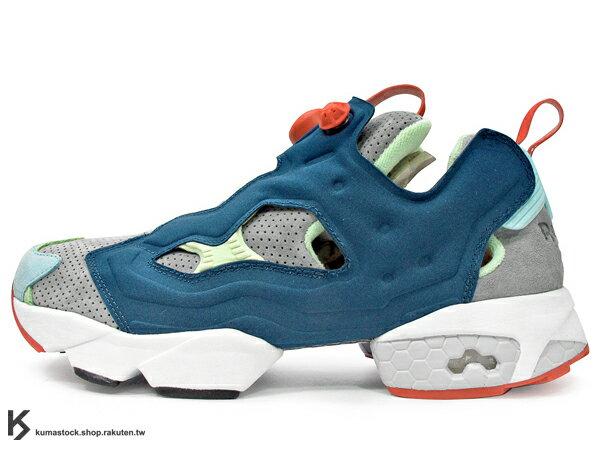 2014 原版設計再現 20周年紀念 限量發售 英國 知名鞋舖 Hanon Shop x Reebok INSTA PUMP FURY OG 深藍灰 火焰 麂皮 1994 原版中底設計 (M43151) !
