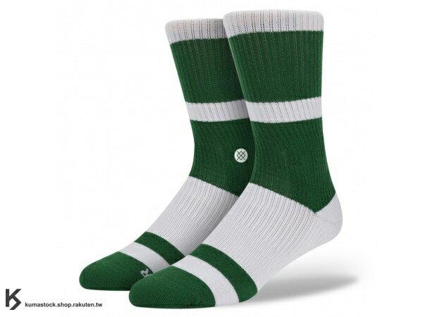 2013 美國加州 襪子 品牌 STANCE SOCKS x NBA 官方授權 NBA 復古 球隊系列 BOSTON CELTICS 塞爾提克 綠白 中長筒襪 (M802ABOS) !