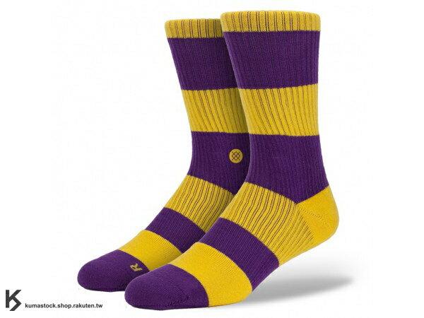 2013 美國加州 襪子 品牌 STANCE SOCKS x NBA 官方授權 NBA 復古 球隊系列 LOS ANGELES LAKERS 洛杉磯 湖人 紫黃 中長筒襪 (M802ALOS) !