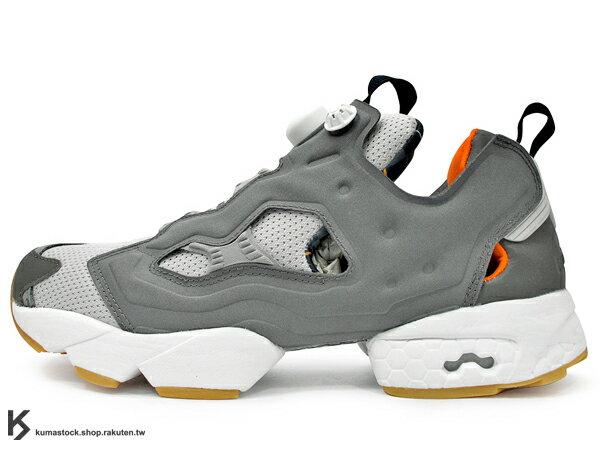 2014 原版設計再現 20周年紀念 限量發售 美國 密西根 知名鞋舖 BURN RUBBER x Reebok INSTA PUMP FURY OG 灰 灰銀 透氣鞋面 1994 原版中底設計 (V61329) !