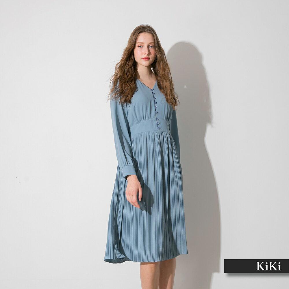 【KiKi】V領高腰百褶長版-洋裝(二色/版型適中)