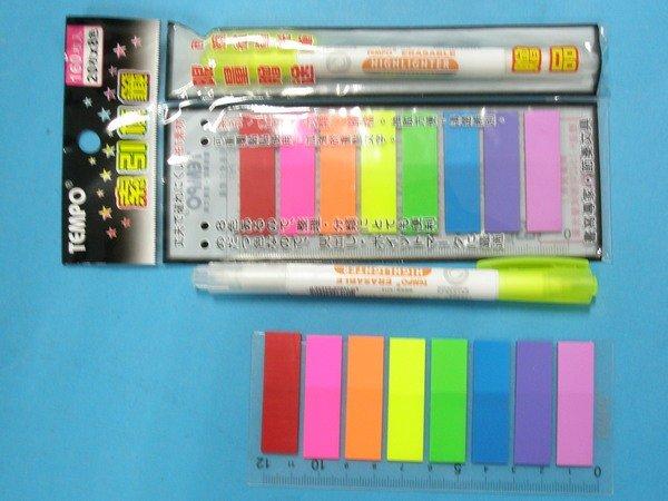 節奏螢光索引標籤 TP-500 螢光索引片標籤(長形) 8色x20枚/一小包入{定50}~限量加贈可擦拭螢光筆一支送完為止~