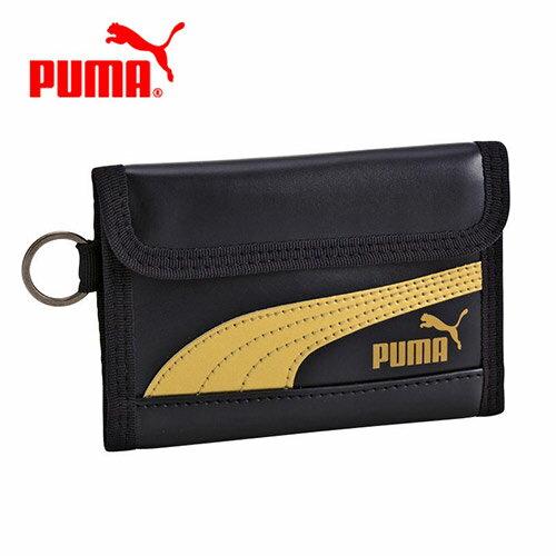 金黑款【日本正版】PUMA 皮質 兩折式 短夾 皮夾 錢包 運動皮夾 防潑水 - 130687