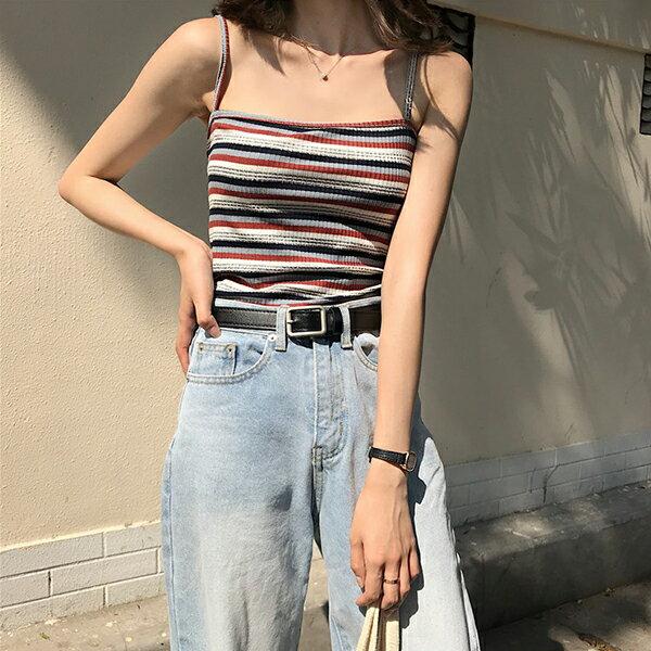 PS Mall 彈力顯瘦彩色條紋裹胸吊帶【T564】 0